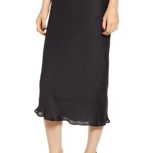 CHELSEA28 | Black Satin Midi Skirt Tonal Dots S